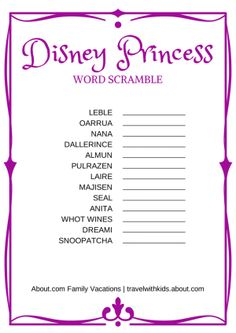 Taking a Disney vacation with kids? Here are free printable word searches, word scrambles, mazes, and other Disney-themed games and activities.: Disney Princess Word Scramble