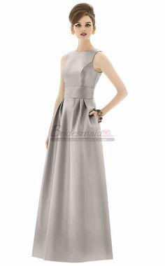 Grey Long Taffeta Bridesmaid Dresses