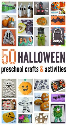 "Mummies and pumpkins and monsters, oh my! Get into the Halloween spirit with these 50 craft ideas for preschool kiddos! (via ""No Time For Flash Cards"")"