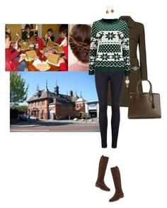 """Spending the afternoon with the kids at Hummingbird House making gingerbread houses"" by hrhprincessamelia ❤ liked on Polyvore featuring Ted Baker, Michael Kors, Blue Nile and Yves Saint Laurent"
