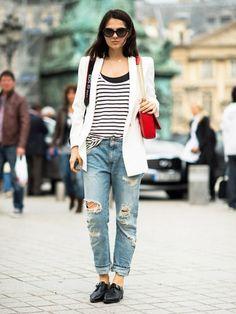 Der Streetstyle des Tages zum Nachshoppen. Heute mit Longblazer, Destroyed Jeans und trendigen Budapester-Schuhen.