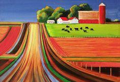 Folk Art Farm Art Print by Toni Grote. Farm Paintings, Paintings For Sale, Portrait Paintings, Images Google, Art Google, Bing Images, Landscape Art, Landscape Paintings, Acrylic Paintings