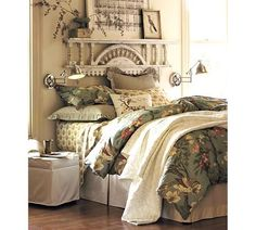 Pottery Barn example of how you can create a focal point without having to buy a big headboard. I love the found personal nature of the objects. PS I never make my bed like that. Did this in my room, lovely! Dream Bedroom, Home Bedroom, Bedroom Decor, Bedroom Ideas, Master Bedroom, Headboard Decor, Wall Decor, Dream Rooms, Bedroom Inspo