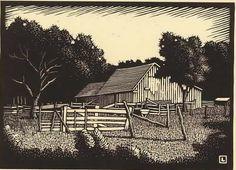 """By Herschel Logan.  """"Barnyard""""    Block print, 19    5 x 7"""