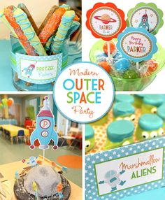 Modern Outer Space Birthday Party with fun colors and lots of cute food ideas. With amazing moon centerpieces made from styrofoam and alien marshmallows!