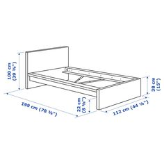 MALM Bed frame, high, white, Twin - IKEA Ikea Lit Malm, Bed Storage, Storage Spaces, Record Storage, Malm Bed Frame, Ikea Canada, Cama Ikea, High Headboards, Wood