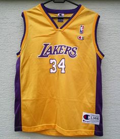 NBA Los Angeles LAKERS Jersey Champion Shaquille O Neal 34 LA age 14 - 16 Youth