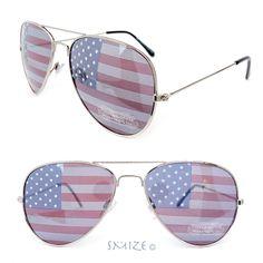 22c7362c4c5 4th of July American Flag Lenses Aviator Silver Metal Frame Sunglasses