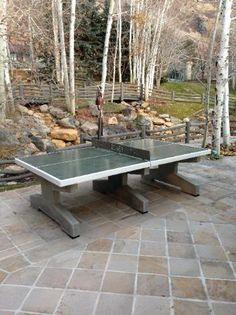 Beautiful concrete table Tennis Table at a private ranch in Utah.      Concrete ping pong table, concrete table tennis table, park ping pong table, park table tennis table, outdoor ping pong table