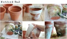How to Make Terra Cotta Pots Chippy 1. Similar to method 1, paint a thick layer of paint over the top area of pot and allow to dry. 2. Using various shades of green, stipple paint over pot. This will create the look of moos.  3. While paint is still drying, rub it off with your fingers and repeat steps 1 and 2 (if needed) until you achieve an old mossy look.