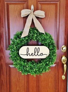 HELLO sign....from the #1 Pinned Wreath on Pintrest!  Perfect to attach to your wreath or use as a door hanger.  Wooden HELLO sign Laser Cut 1/4 thick 14 long  Comes in natural plain wood or painted with ties attached; ready for you to hang on your wreath. Use the drop down box to make your selections.  Listing is for HELLO sign only. Wreath and bow not included.  Click here for my Hello Wreath (picture #2 above): The #1 Pinned Wreath on Pintrest! https://www.etsy.com/your...