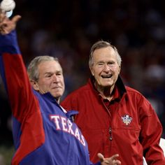 George W. Bush and George H. W. Bush, 2011 World Series (I respect what people believe, but please leave any political comments off this pin, let's keep Pinterest friendly, thanks!) :)