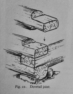 "justenoughisplenty: "" Dovetail joint. From W. Ben Hunt's ""How to Build and Furnish A Log Cabin - the easy, natural way using only hand tools and the woods around you"" Published: 1939 """