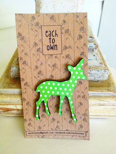 Green Dotty Deer Brooch - Paper Overlay Wooden Laser Cut Brooch. $19.00, via Etsy.