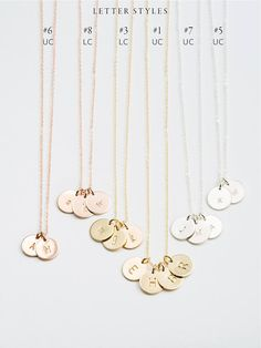 Personalized Initial Tags Necklace = simple, custom gift idea. Multiple disk options for childrens initials, etc. Custom hand-stamped letters or symbols, available in 14k Gold Fill, Sterling Silver or Rose Gold Fill. D E T A I L S • Premium, 9mm Small Disks • Choose 2-6 disks • Custom hand-stamped letters • 100% 14k gold fill, sterling silver or rose gold fill  For single disks, go here: https://www.etsy.com/listing/211259614   …………………………………. C R A F T S M A N S H I P...