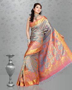 Gorgeous Pastel Pink, Blue, and Gold Silk Wedding Saree