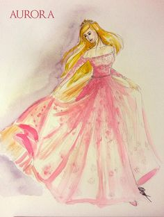 """Clothes to Midnight: Disney Princess Collection. """"Here's Sleeping Beauty in Elie Saab. The fashion power house actually created this just for Sleeping Beauty. The only thing I changed was to make the sleeves long. """""""