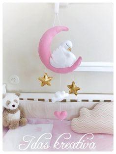 Swan crib mobile Nursery felt sewing decor by idaskreativa on Etsy