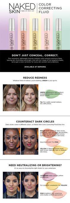 Urban Decay Naked Skin Color Correcting Fluid: Correct imperfections and play up your best features. (How To Make Makeup Concealer) All Things Beauty, Beauty Make Up, Hair Beauty, Beauty Secrets, Beauty Hacks, Beauty Tips, Sephora, Color Correcting Concealer, Makeup Tutorials