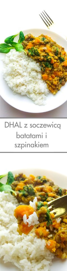dhal z soczewicą batatami i szpinakiem