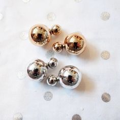 Gold or Silver Double-sided Earrings These baubles are so cute! Wear with anything. 18k gold plated metals. Lead and nickel free. I have gold and silver. Let me know which ones you want and I can create a listing for you. Thanks! T&J Designs Jewelry Earrings