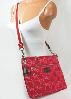 $178.00-$198.00 Handbags  Coach Poppy Metallic Signature Lurex Hippie Bag Ruby Pink 18135 - Ideal for any woman on the go, this chic hippie bag is a fashionable choice for day or night. The secured zip top closure makes it easy to access all of your most important items. Coach Retail $198+tax.~Guaranteed Authentic Coach~ http://www.amazon.com/dp/B006SM20MK/?tag=pin0ce-20