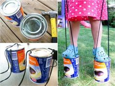 Coffee Cans + Yarn = Stilts-  Our parents were repurposing coffee cans long before the term 'upcycle' was on anyone's radar - remember those Maxwell House pencil cups? More fun than desk organizers, these homemade stilts are easy to make, easy to use and good to the last…clop.