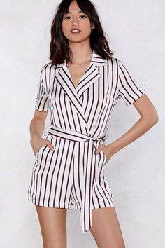 ae8e4f4c8858 Nasty Gal All the Stripe Moves Wrap Romper Diy Shorts
