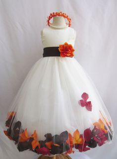 Customize infant toddler teen ivory rose petal wedding party flower girl dress #Rosepetaldress: