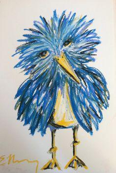 Original Oil Pastel Drawing - Baby Bird by ENewberryDesigns, $50.00