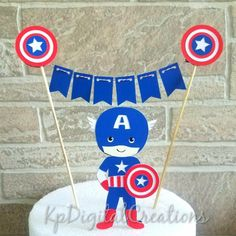 Topo de bolo Capitão América | party set up | Cake toppers ...