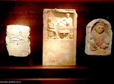 Estelas, Roma Imperial. Siglos I-II DC. Piedra y pintura. Escenas en relieve con inscripciones y de carácter funerario. Funerary steles. Imperial Rome and Egypt Stone and paint. First and second centuries A D