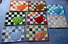 ~ Mug Rug Tutorial- my first quick glance I thought the cups were chickens; I think I just might do them that way!