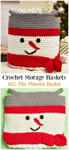 Snowman Basket Crochet Free Pattern - Storage #Basket; Free #Crochet; Patterns