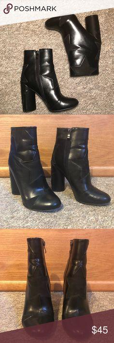 PUBLIC DESIRE Black Star Ankle Boots Block heel. Size 7. WORN ONCE! Public Desire Shoes Ankle Boots & Booties