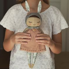 Here she is ❤️My new design doll, the first one, sweet and born to cuddle ❤️I truly believe you will like her ❤️Her body is made from the 100% linen. She wears linen dress decorated with the embroidery, wooden button and the cotton collar. Her bunny hat is decorated with the crocheted flower. This baby is 16 inches (40 cm) tall ❤️ She is looking for the new home in my store ✨Welcome! *SOLD ✨From today all the dolls will be packed in the Christmas packaging #freeshipping #newdesign #doll #...