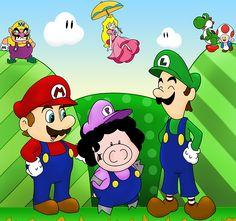 Mario, Luigi, Princess Peach, Yoshi, Toad, and Wario meet Afro Pig.