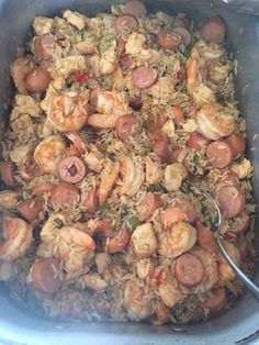 Cajun Jambalaya 2 tablespoons extra virgin olive oil 1 lbs boneless skinless chicken thighs 1 lb andouille sausage, cut into inch slices Seafood Recipes, Chicken Recipes, Dinner Recipes, Crawfish Recipes, Cajun Shrimp Recipes, Cajun Shrimp Pasta, Cajun Dishes, Food Dishes, Cajun Cooking