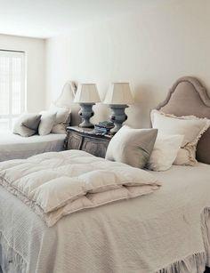 Via Cote de Texas Would make a beautiful guest bedroom. Home Bedroom, Bedroom Decor, Calm Bedroom, Serene Bedroom, Bedroom Setup, Bedroom Neutral, Pretty Bedroom, Girls Bedroom, Bedroom Ideas