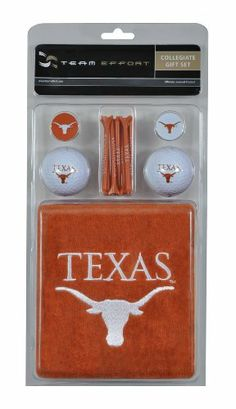 """NCAA Texas Golf Gift Set by Team Effort. $29.99. 15 natural wood-finished tees. Two quality surlyn covered golf balls. 16""""x 26"""" tri-fold towel. One premium ball mark repair tool. Two ball markers. Gift set includes a 16 x 26 tri-fold towel embroidered with collegiate trademark, two quality surlyn covered golf balls printed with collegiate trademark, 15 natural wood-finished tees printed with collegiate word mark, two ball markers and one premium ball mark repair tool pr..."""