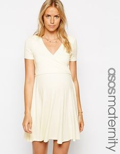 Image 1 of ASOS Maternity Wrap Skater Dress