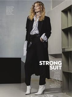 Model Julia Nobis poses in menswear inspired looks for Vogue Magazine Australia December 2016 issue