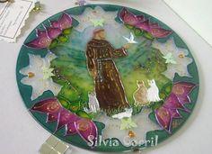 Mandala São Francisco em vidro 20cm. Pintura vitral.Acompanha embalagem para presente.