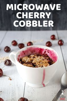 Microwave Cherry Cobbler | Create this delicious dessert with ease, in minutes! - The Produce Moms Classic Desserts, Great Desserts, No Bake Desserts, Delicious Desserts, Mug Recipes, Quick Recipes, Easy Healthy Recipes, Easy Meals, Cherry Recipes