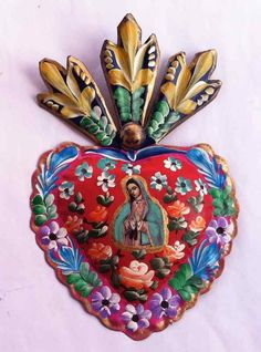 Our lady of guadalupe ❥tin dia de los muertos heart