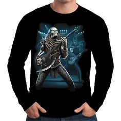 Velocitee Mens Long Sleeve T Shirt Predator Guitarist Skeleton Guitar A15031 #Velocitee