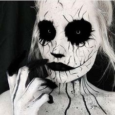 Scary Black and White Halloween Makeup Idea