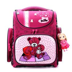 42.72$  Watch now - http://aiads.worlditems.win/all/product.php?id=32800059616 - Delune children school bags cartoon bear Dog Cat kid bag for girls for school girl Flower school backpack space raincoat outlet