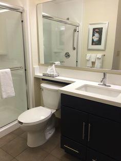 Rain shower bathroom is nice. Candlewood suites MS