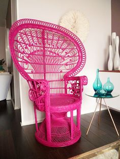 Neon Pink Wicker Chair